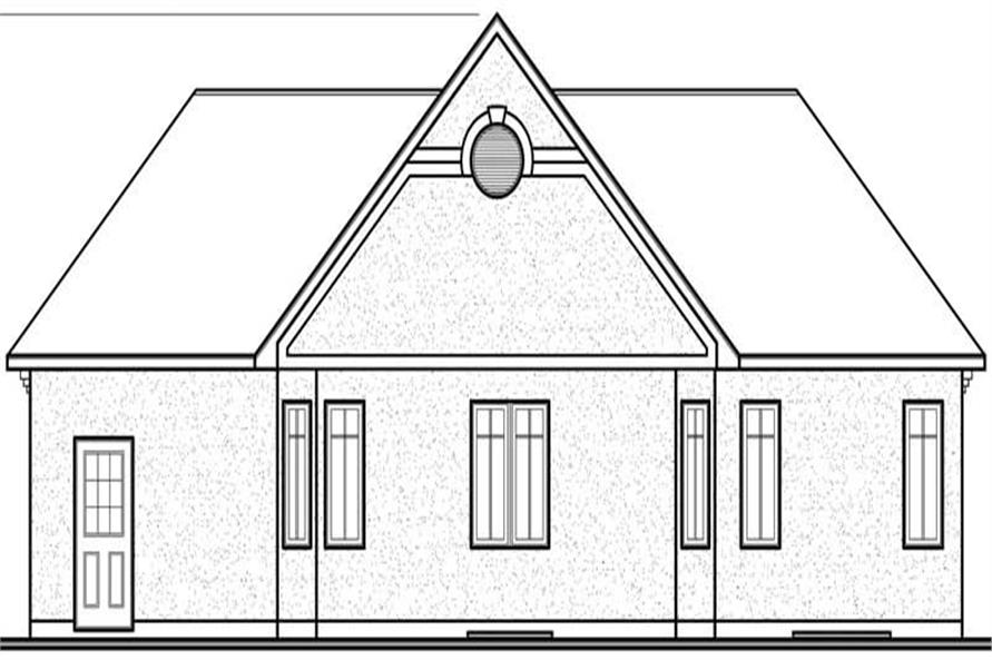 Home Plan Rear Elevation of this 3-Bedroom,1250 Sq Ft Plan -126-1670
