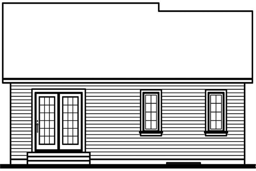 Home Plan Rear Elevation of this 2-Bedroom,994 Sq Ft Plan -126-1671
