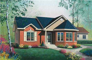 2-Bedroom, 994 Sq Ft Bungalow House Plan - 126-1671 - Front Exterior