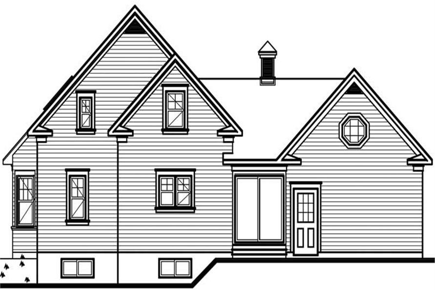 Home Plan Rear Elevation of this 2-Bedroom,1568 Sq Ft Plan -126-1677