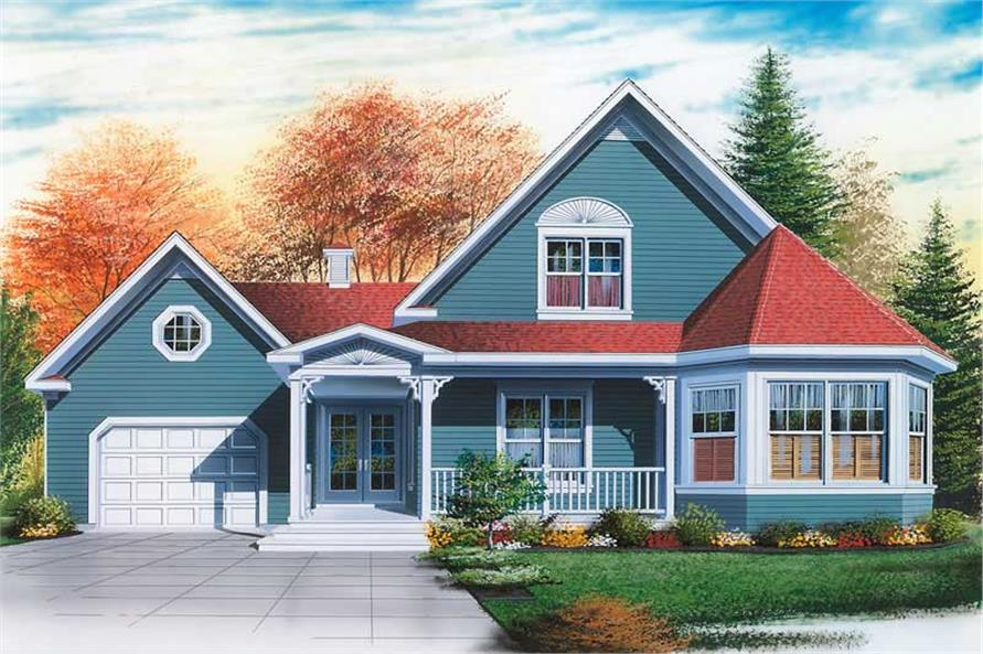 2-Bedroom, 1568 Sq Ft Country Home Plan - 126-1677 - Main Exterior