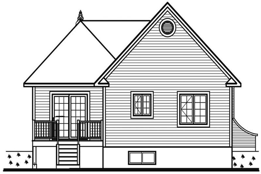 Home Plan Rear Elevation of this 2-Bedroom,1087 Sq Ft Plan -126-1678