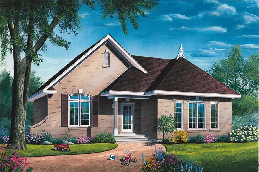 2-Bedroom, 1087 Sq Ft Bungalow Home Plan - 126-1678 - Main Exterior