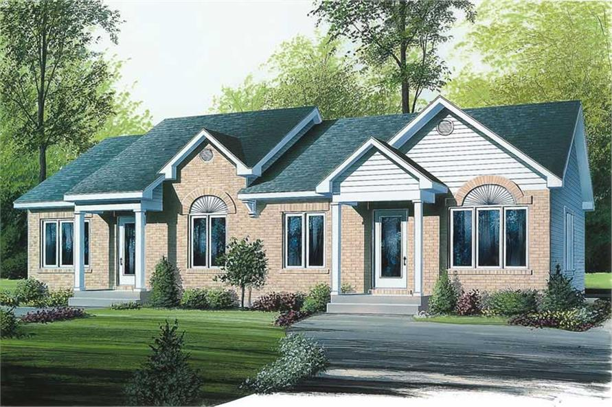 2-Bedroom, 1768 Sq Ft Multi-Unit House Plan - 126-1682 - Front Exterior