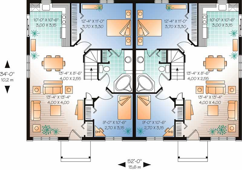 Multi unit house plan 126 1682 2 bedrm 1768 sq ft per for Multi unit house plans