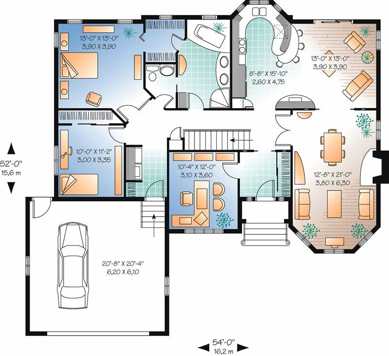Ranch Contemporary Home With 2 Bedrooms 1572 Sq Ft