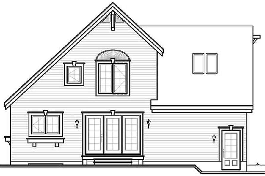 Home Plan Rear Elevation of this 3-Bedroom,1495 Sq Ft Plan -126-1687