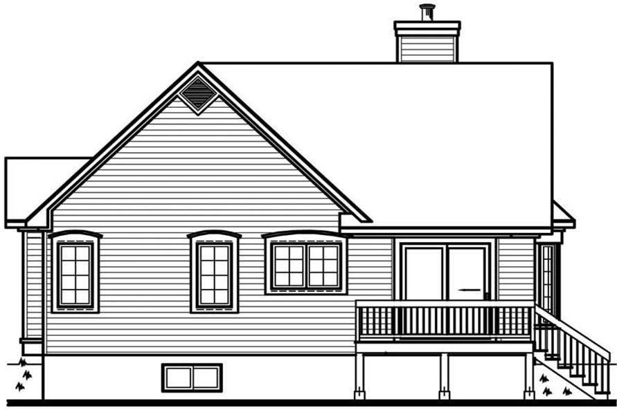 Home Plan Rear Elevation of this 2-Bedroom,1191 Sq Ft Plan -126-1688