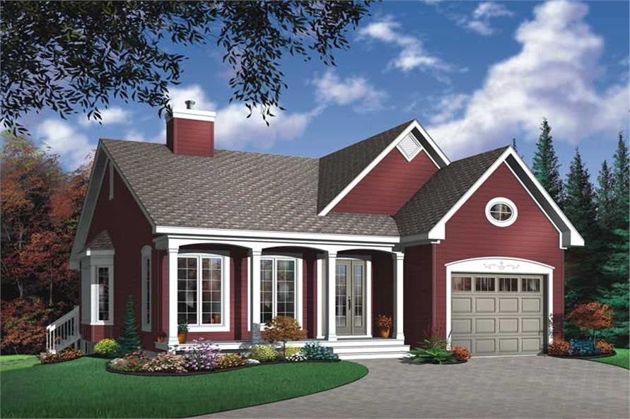2-Bedroom, 1191 Sq Ft Bungalow House Plan - 126-1688 - Front Exterior