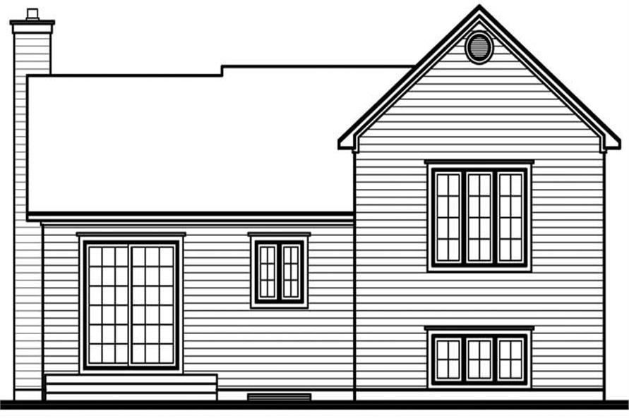 Home Plan Rear Elevation of this 3-Bedroom,1595 Sq Ft Plan -126-1691