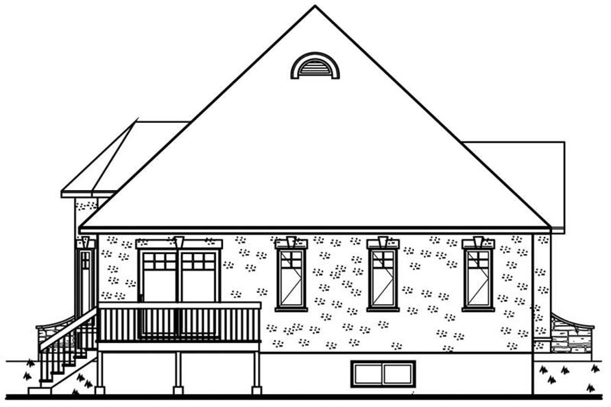 Home Plan Rear Elevation of this 2-Bedroom,1122 Sq Ft Plan -126-1696