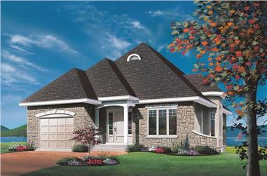 2-Bedroom, 1122 Sq Ft Bungalow House Plan - 126-1696 - Front Exterior
