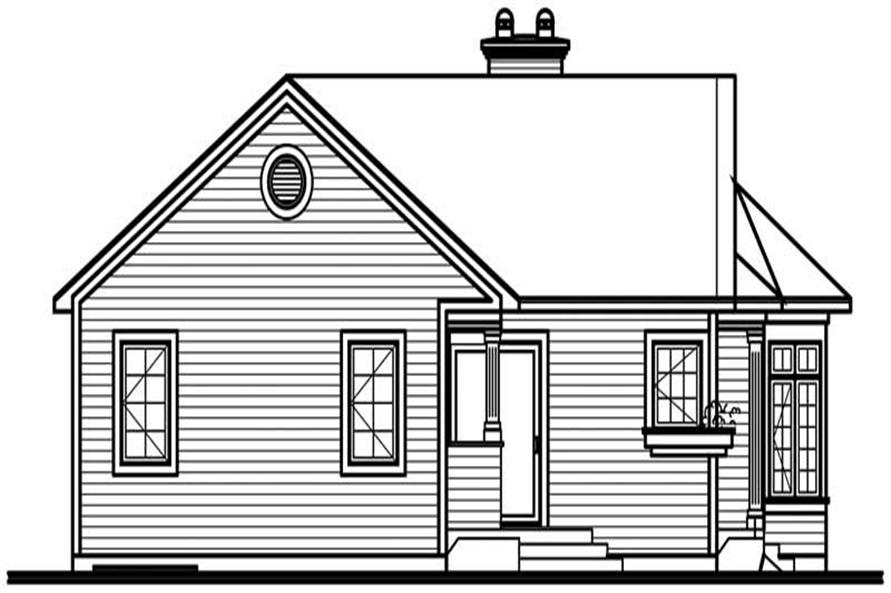 Home Plan Rear Elevation of this 3-Bedroom,1347 Sq Ft Plan -126-1701