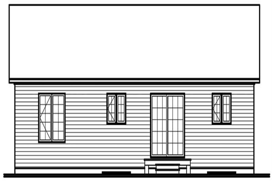 Home Plan Rear Elevation of this 3-Bedroom,1184 Sq Ft Plan -126-1705