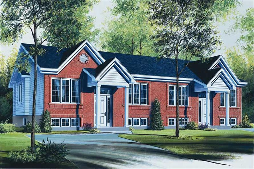 2-Bedroom, 1736 Sq Ft Multi-Unit House Plan - 126-1707 - Front Exterior