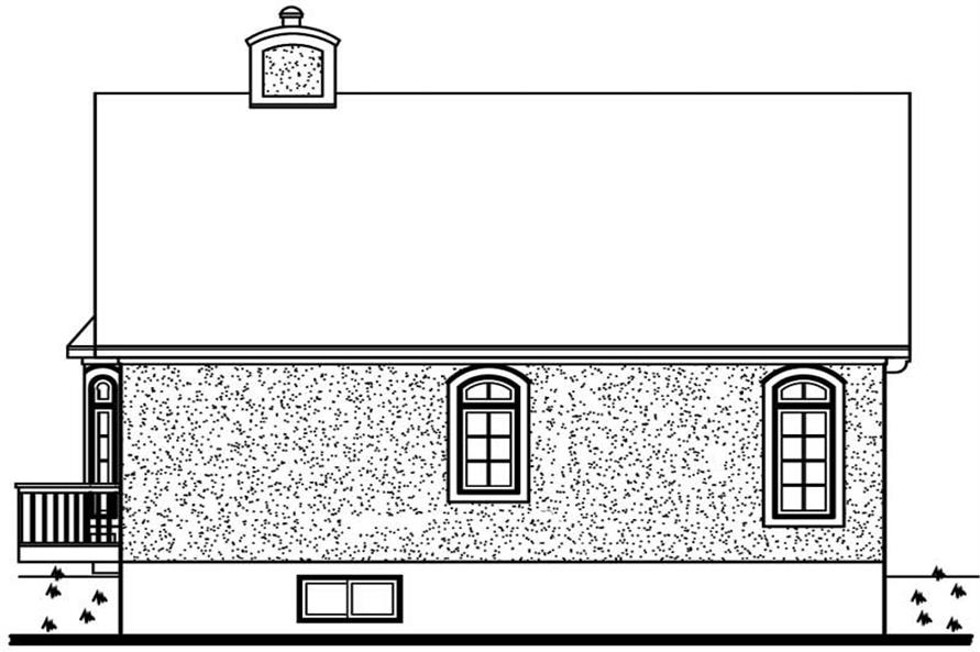 Home Plan Rear Elevation of this 2-Bedroom,1066 Sq Ft Plan -126-1715