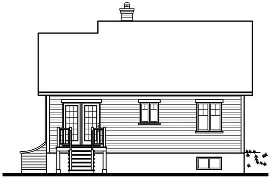 Home Plan Rear Elevation of this 2-Bedroom,1098 Sq Ft Plan -126-1716