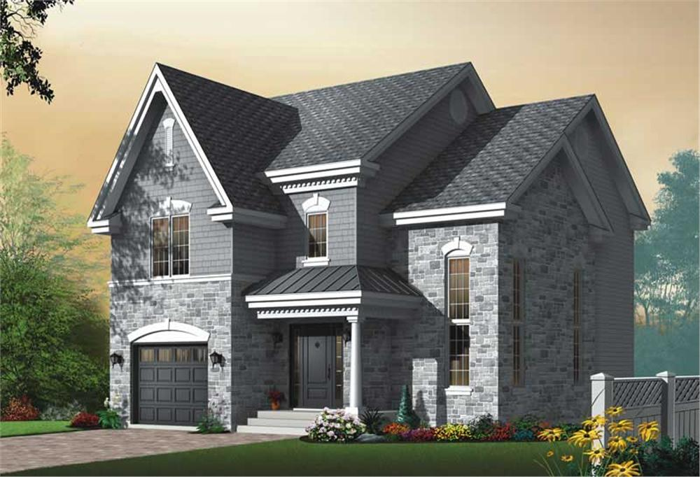 Front elevation of European home (ThePlanCollection: House Plan #126-1717)