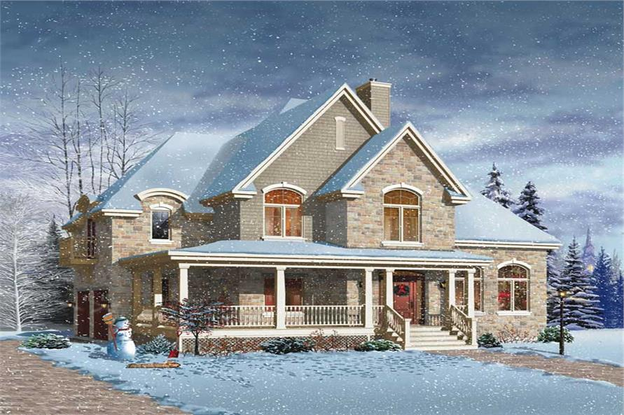 4-Bedroom, 3321 Sq Ft Country Home Plan - 126-1718 - Main Exterior