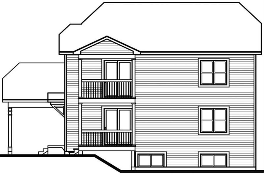 Home Plan Rear Elevation of this 1-Bedroom,3540 Sq Ft Plan -126-1729