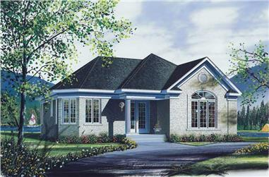 2-Bedroom, 1108 Sq Ft Bungalow House Plan - 126-1730 - Front Exterior