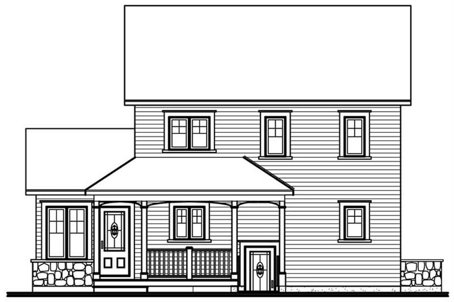 Home Plan Rear Elevation of this 3-Bedroom,1516 Sq Ft Plan -126-1733