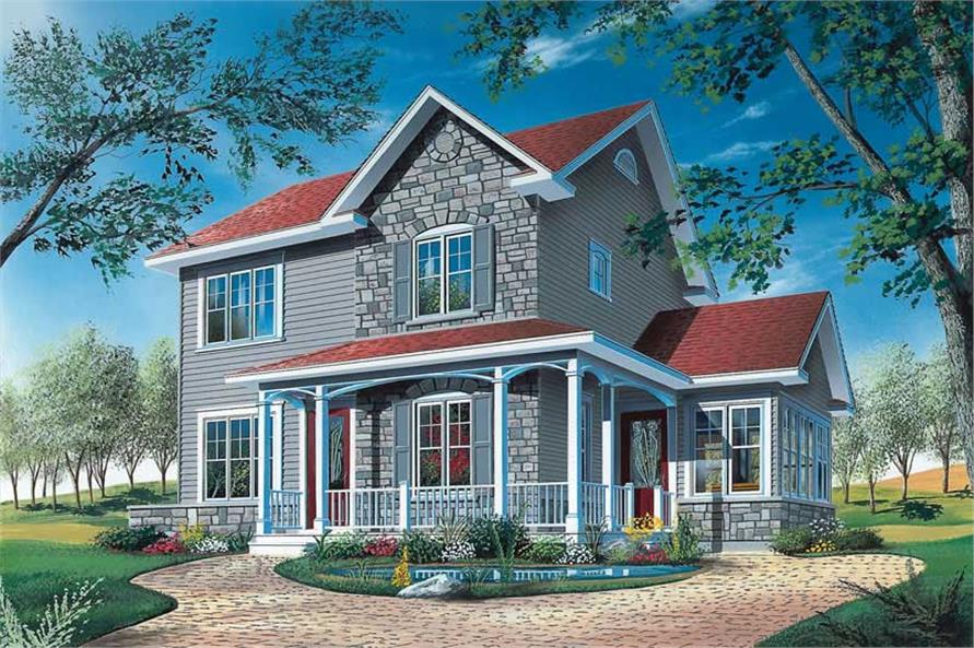 3-Bedroom, 1516 Sq Ft Country Home Plan - 126-1733 - Main Exterior