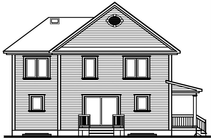 Home Plan Rear Elevation of this 3-Bedroom,1604 Sq Ft Plan -126-1734