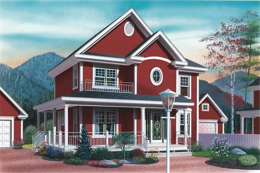 3-Bedroom, 1604 Sq Ft Country Home Plan - 126-1734 - Main Exterior