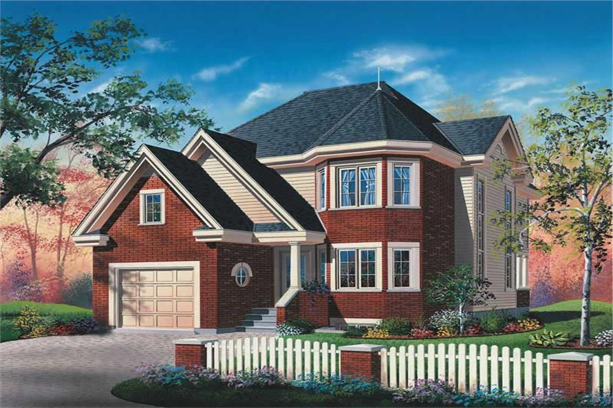 3-Bedroom, 1751 Sq Ft European Home Plan - 126-1744 - Main Exterior