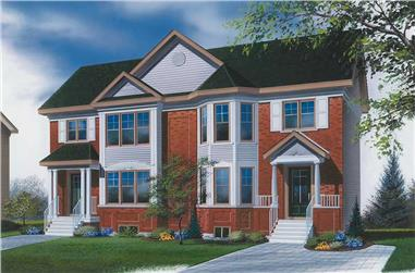2-Bedroom, 2208 Sq Ft Multi-Unit House Plan - 126-1749 - Front Exterior