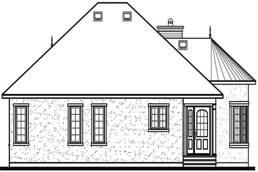 Home Plan Rear Elevation of this 2-Bedroom,1178 Sq Ft Plan -126-1750