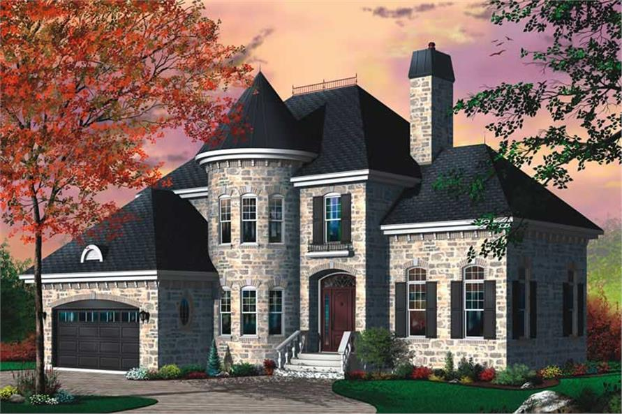 3-Bedroom, 2310 Sq Ft European Home Plan - 126-1755 - Main Exterior