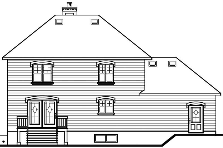 Home Plan Rear Elevation of this 3-Bedroom,1462 Sq Ft Plan -126-1756