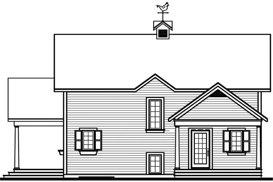 Home Plan Rear Elevation of this 3-Bedroom,1594 Sq Ft Plan -126-1763