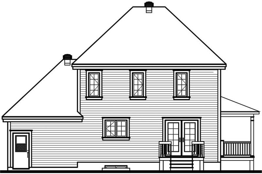 Home Plan Rear Elevation of this 3-Bedroom,1432 Sq Ft Plan -126-1771