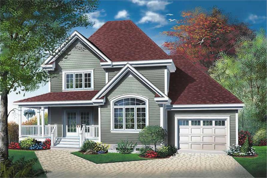 HOME PLAN FRONT ELEVATION of this 3-Bedroom,1432 Sq Ft Plan -1432