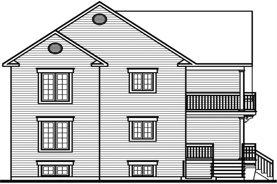 Home Plan Rear Elevation of this 2-Bedroom,3054 Sq Ft Plan -126-1773