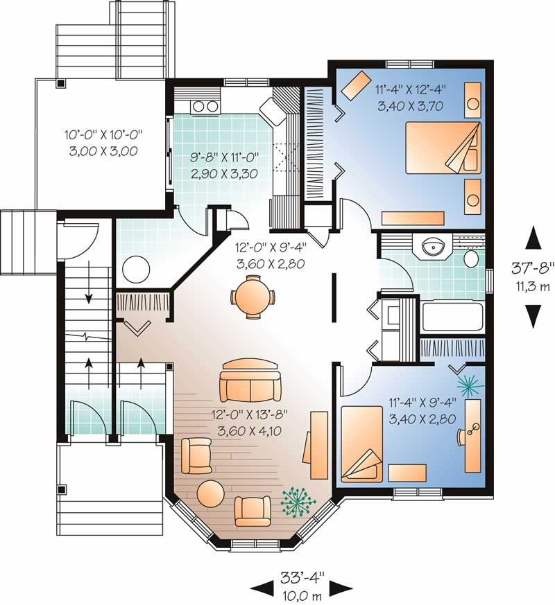 Multi-Unit House Plan #126-1773: 2 Bedrm, 3054 Sq Ft Per