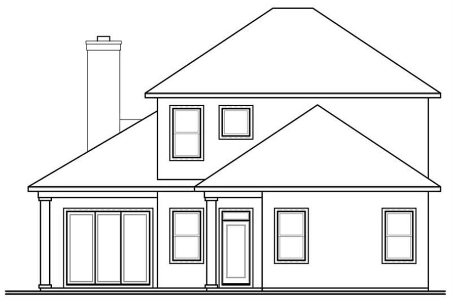 homeplan dd-3618 rear elevation