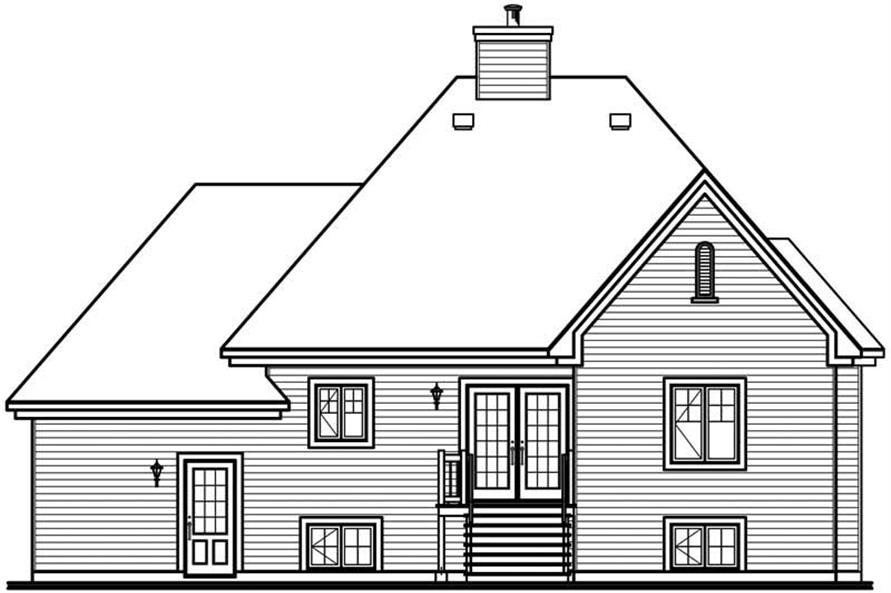 Home Plan Rear Elevation of this 2-Bedroom,1129 Sq Ft Plan -126-1777