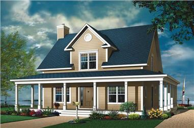 3-Bedroom, 1841 Sq Ft Country Home Plan - 126-1778 - Main Exterior