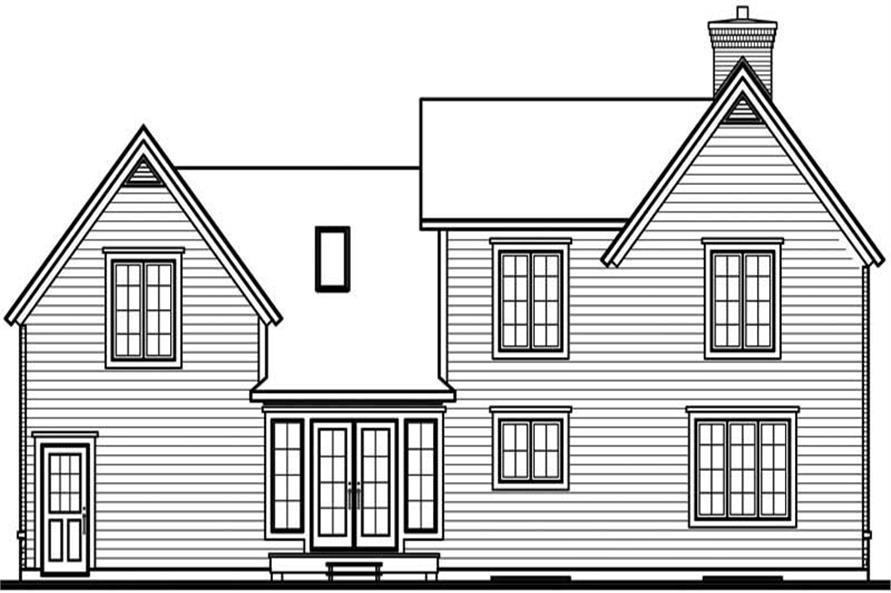 Home Plan Rear Elevation of this 3-Bedroom,2032 Sq Ft Plan -126-1779