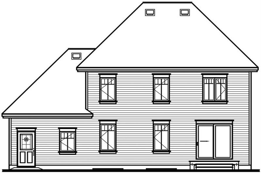 Home Plan Rear Elevation of this 3-Bedroom,1703 Sq Ft Plan -126-1781