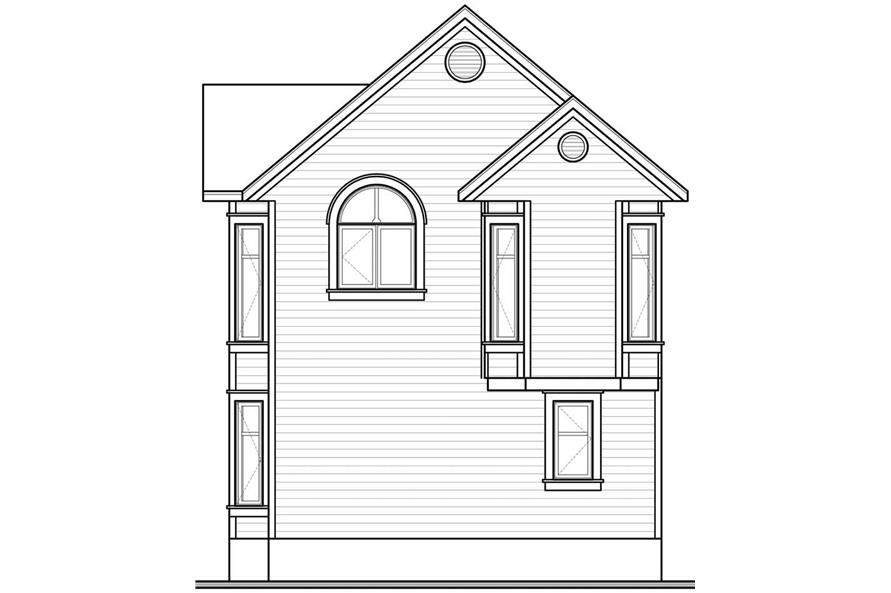 Home Plan Rear Elevation of this 2-Bedroom,1088 Sq Ft Plan -126-1782