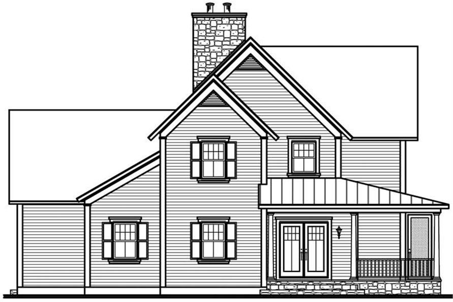 Home Plan Rear Elevation of this 4-Bedroom,2841 Sq Ft Plan -126-1785