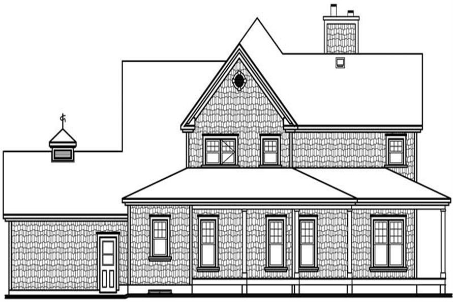 Home Plan Rear Elevation of this 4-Bedroom,2992 Sq Ft Plan -126-1787