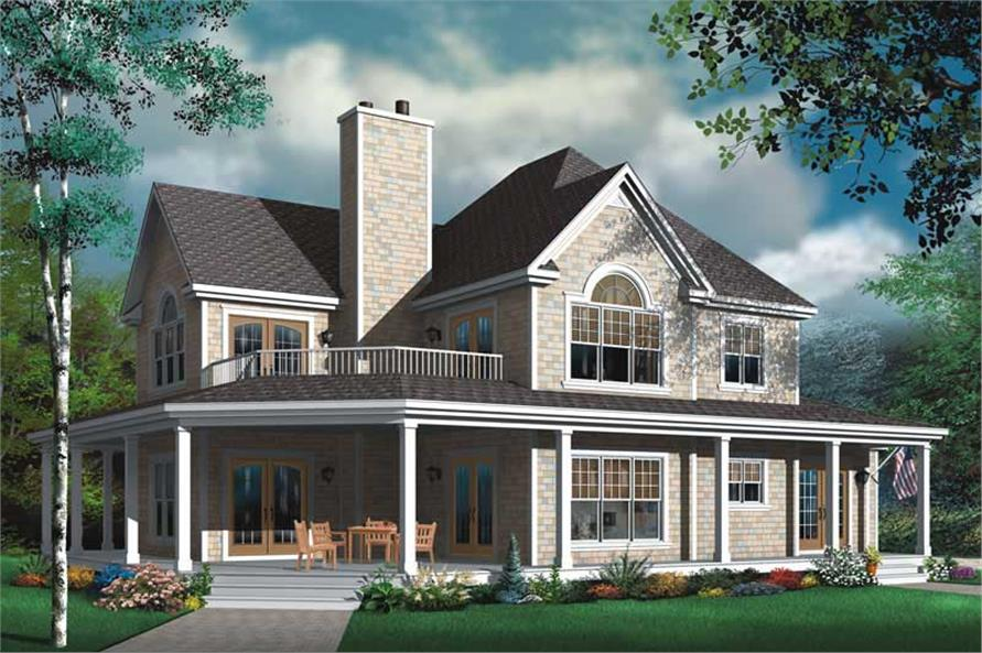 4-Bedroom, 2992 Sq Ft Farmhouse House Plan - 126-1787 - Front Exterior