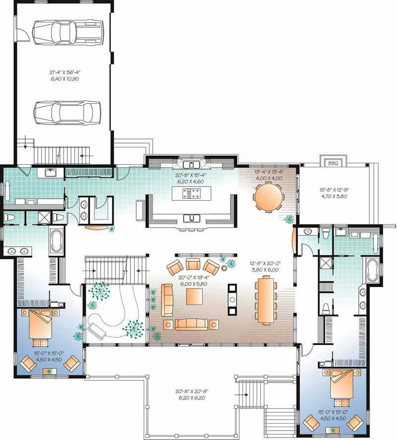 Beachfront house plan 7 bedrms 6 5 baths 9028 sq ft for Waterfront house floor plans