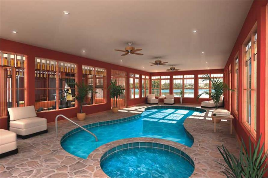 Pool of this 7-Bedroom,9028 Sq Ft Plan -9028